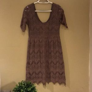 Pins & Needles Dresses - Pins and Needles taupe lace dress size M